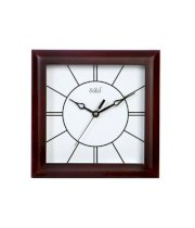 Safal Brown and White Wood Sleek Lines Mini Square Wall Clock