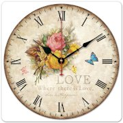 """iCasso 12"""" Vintage Yellow Love Rose Flower & Blue Butterfly Country Floral Wall Clock Wooden Art Decor"""
