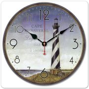 """iCasso 12"""" 30cm Vintage Lighthouse Tower Cape Canaveral 1868 Florida Wood Wall Clock Wooden Wall Art Decor"""