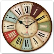 """iCasso 12"""" 30cm Vintage London Old Time Clock Roman Numbers Wood Wall Clock Wooden Wall Art Decor"""