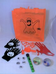 Kids Halloween Fun Kit - Halloween Gloves - Halloween Eyeball and Spooky Halloween Projector Lights - Gel Clings Zombie Blood Window Stickers - Halloween Lighting and Lights Show - Decorations Pumpkins Crafts - Window Decorations - Storage Tote with Warra