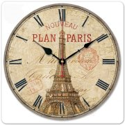 """iCasso 12"""" Vintage France Paris Eiffel Tower Non-Ticking Silent Wood Wall Clock Wooden Wall Art Decor"""