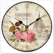 """iCasso 12"""" Retro Vintage London Rose Garden French Country Tuscan Style Non-Ticking Silent Wooden Wall Clock Wooden Wall Art Decor"""