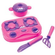 """Kids Kitchen Set 7"""" Hot Plate with Pan Lid and 2 Utensils Girls Party Toy Gift"""