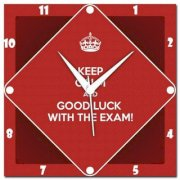 Amore Keep Calm And Good Luck With Exam Analog Wall Clock