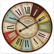"""iCasso 16"""" 40cm Vintage London Old Time Clock Roman Numbers Wood Wall Clock Wooden Wall Art Decor"""