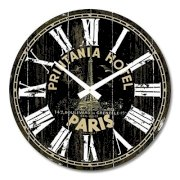 """iCasso 14"""" Retro Vintage Printania Hotel French Country Tuscan Style Non-Ticking Silent Wood Wall Clock Wooden Wall Art Decor"""