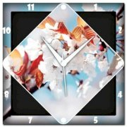 Amore White Cherry Blossom Analog Wall Clock (Multicolor)