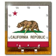 DC_158295_1 InspirationzStore Flags - Flag of California Republic - US American state - United States of America - The Bear Flag white red - Desk Clocks - 6x6 Desk Clock