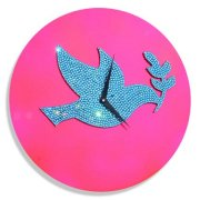 Crysto Dove Love Wall Clock Pink & Blue CR726DE80HZJINDFUR