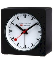 Mondaine Black Alarm Clock with Led Light