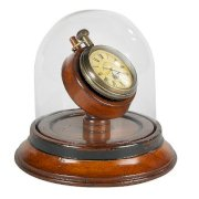 Victorian Dome Watch - Pocket Watch Replica - Features Brass Pocket Watch on Solid Wood Stand with Glass Dome Case - Authentic Models SC054