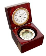 Navigator Clock and Compass Gift Set in Wooden Box, Brass Accents