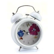 "Generic 3"" White Flower Butterfly Metal Fresh Twin Double Bell Desk Table Alarm Clock"
