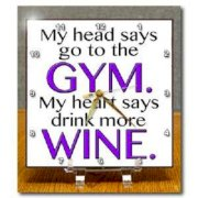 3dRose dc_173359_1 My Head Says Go to The Gym My Heart Says Drink More Wine. Purple. Desk Clock, 6 by 6-Inch
