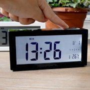 Best-mall Novelty LCD Super Big Screen Light Sensor Silent Student Bedside Lazy Snooze Alarm Clock With Nightlight (Black)