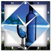WebPlaza Wine And Glass Analog Wall Clock (Multicolor)