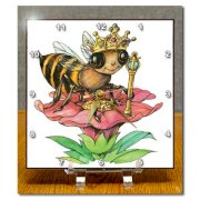 3drose Bee The Queen Desk Clock, 6 by 6-Inch