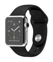 Đồng hồ thông minh Apple Watch 38mm Stainless Steel Case with Black Sport Band