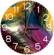 Ellicon B333 Colorful Feather Analog Wall Clock (Multicolor)