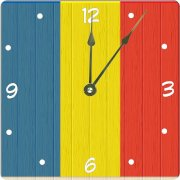 "Rikki KnightTM Cayman Island Flag on Distressed Wood Design 6"" Art Desk Clock"