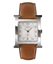 Hermes Mens Stainless Steel Leather 32.2mm X 32.2mm 63771
