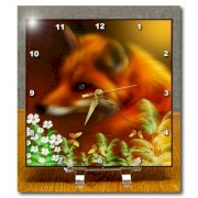 3dRose dc_23400_1 Red Fox in The Garden Desk Clock, 6 by 6-Inch