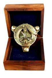 """3"""" Sundial Compass - Brass with Wood Box"""
