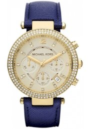 Đồng hồ Michael Kors Mid-Size Navy Leather Parker Glitz Watch 39MM MK2280