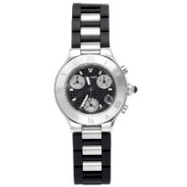 Cartier Women's Must 21 Chronoscaph Stainless Steel and Black Rubber Chronograph Watch (Black) - W10198U2
