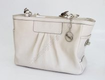 Coach Leather Pleated Gallary Tote Ivory F13759 - S1009116