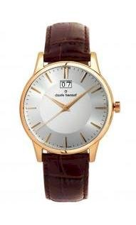 Claude Bernard Men's 63003 37R AIR Classic Gents Rose Gold PVD Silver Dial Leather Date Watch