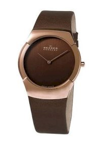 Skagen Men's 582XLRLM Swiss Movement Rose-tone Steel Brown Leather Watch