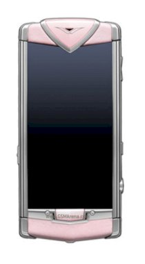 Vertu Constellation Polished Stainless Steel Model with Sapphire Screen and Pink Leather