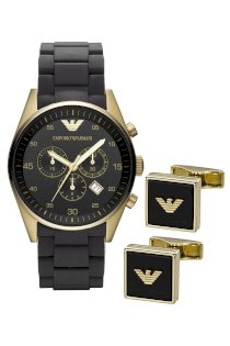 Đồng hồ Emporio Armani Watch and Cufflink Set, Men's Chronograph Black Silicone Wrapped Rose Gold Ion Plated Stainless Steel Bracelet 43mm AR8023