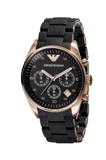 Đồng Hồ Emporio Armani Watch, Men's Chronograph Black Silicone Wrapped Rose Gold Tone Stainless Steel Bracelet - AR5906