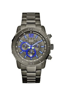 Đồng hồ Guess Watch, Men's Chronograph Gunmetal Tone Stainless Steel Bracelet 46mm U17529G1