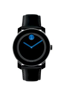 Đồng hồ Movado Watch, Swiss Bold Large Blue Accent Black Leather Strap 42mm 3600015