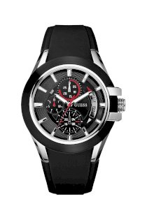 Đồng hồ Guess Watch, Men's Chronograph Black Leather Strap 18mm U11638G1