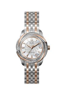 Đồng hồ Bulova Watch, Women's Precisionist Brightwater Diamond Accent Two Tone Stainless Steel Bracelet 98R153