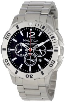 Nautica Men's N23519G BFD 101 Sporty Stainless Steel Red Polyurethane Black Dial Watch Box Set