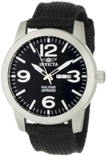 Invicta Men's 1046 Specialty Black Canvas Stainless Steel Watch