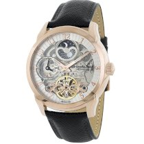 Stuhrling Original Men's 263.334534 Classic Tempest Automatic Skeleton Dual Time AM/PM Indicator Silver Dial Watch