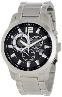 Nautica Men's N20067G NCS 600 Classic Stainless Steel Black Leather Black Dial Watch Box Set
