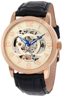 Stuhrling Original Men's 107EM.334531 Classic Delphi Omega Rosetone Automatic Skeleton Watch Gift Set