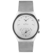 Skagen Midsize 733XLSS Steel Collection Dual Time Mesh Stainless Steel Watch