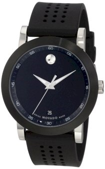 Movado Men's 0606507 Museum Stainless Steel Black Rubber Strap Watch