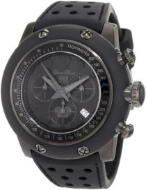 Glam Rock Women's GR90105 Race Track Chronograph Black Dial Black Silicone Watch