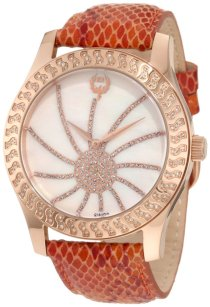 Brillier Women's 03-32424-09 Kalypso Rose-Tone Copper Snakeskin Watch