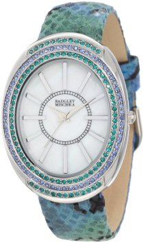 Badgley Mischka Women's BA/1195MPGN Swarovski Crystal Accented Large Silver-Tone Oval Case Green Python Print Leather Strap Watch